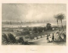 Singapore ORIGINAL Engraving 1840 by  C. Graham