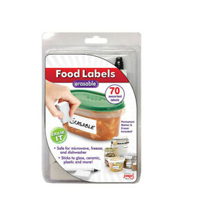 Jokari Pantry Food Storage Labels Erasable Pen and Eraser Set Container Stickers