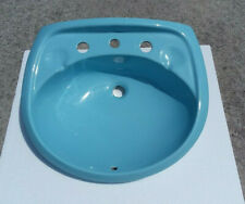 Blue Pedestal Sink Top Ceramic Vintage Almost Twilight Blue Classic Color 024