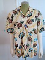 Vintage Hawaiian Shirt Rainbow Hawaii Pineapples travel posters L Aloha Tropical