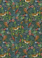 CTN90 Rifle Paper Cotton + Steel Menagerie Tiger Bird Cotton Linen Canvas Fabric
