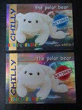 Ty Beanie Babies Bboc Series I S1 ~ Red & Blue ~ Retired Card 12 Chilly