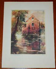"""Beautiful 1941 Christmas Card Lithograph Print 7.5"""" x9.75"""" The Old Washburn Mill"""