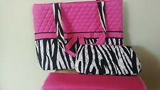 Belvah Diaper Bag Quilted Pink Black White~ New with Tag!