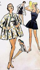 Vintage 50's Sewing Pattern Pleated Bathing Suit Kimono Beach Coat Pin Up B 34""