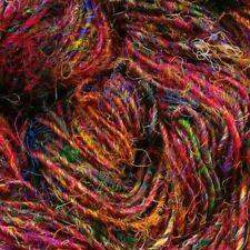 de punto//Crochet//tejido//Textil//Manualidades Sari de seda hilo Multicolor Joya tonos 100g