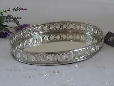 Oval Mirror Glass Gem Decorative Vintage Silver Metal Plate Drinks Display Tray