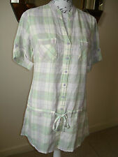 BNWT MARKS & SPENCER PURE LINEN LONGLINE CHECK SHIRT / BLOUSE / TUNIC -SIZE 12