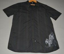 RUSTY - Size L* - Black w Blue and White Pin Stripes - Short Sleeve Shirt
