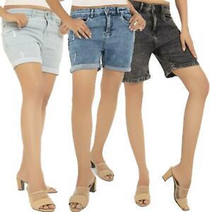 Womens Denim Shorts Boyfriend Stretch Distressed Ladies Hot Pants Size UK 8-22