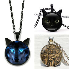 Charm Black Cat/Wiccan Wolf/Moon Goddess Pendant Chain Necklace Punk Jewelry