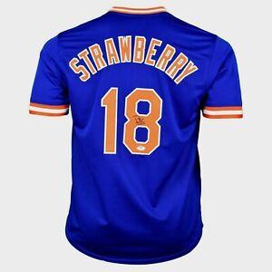 DARRYL STRAWBERRY  SIGNED  CUSTOM  XL NEW YORK  BLUE JERSEY, PSA COA #9A17281