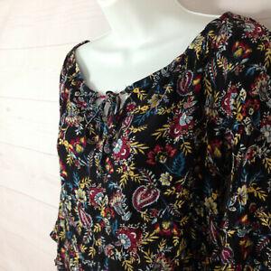 Self Esteem women size M floral multicolor tie off shoulder 3/4 sleeve blouse