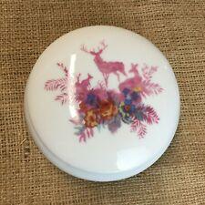 Rosanna Porcelain Vanity Trinket Powder Bowl with Pink Deer and Floral Design
