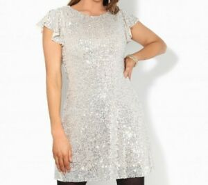 Ladies New Sequin Glitter Party Dress For Special Occasion UK Size 4 EU 34 Ivory