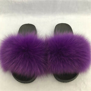 Purple -Womens Real Fox Fur Slippers Slides Sandals Indoor Outoor Fluffy Shoes