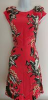 Womens Oasis Dress size 14 orange pencil flowers ruffle summer casual formal