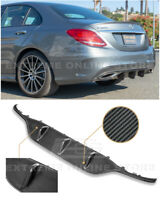 For 15-18 W205 C-Class AMG Sport Style CARBON FIBER Rear Bumper Lower Diffuser