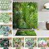 Tropical Green Plants Waterproof Fabric Shower Curtain Bath Accessory Sets