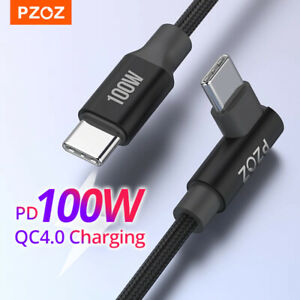 PZOZ USB Type C to Type C 90 Degree Cable 100W PD QC4 5A Fast Charge Data