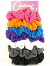 """6 PCS. 02351 GOODY /""""STARRY NIGHTS COLORS/"""" SATIN /& COTTON HAIR SCRUNCHIES"""