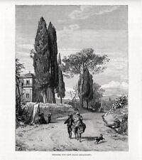 Stampa antica Strada fra CAVI e GENAZZANO nella campagna di Roma 1880 Old print
