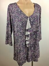 NWOT Anne Klein Ruffle Front Long Sleeve Floral Print Knit Top PURPLE Size M