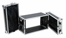 "6 Space Rack Road Case 10"" Deep Storage in Lids for Rack Gear Equipment Units"