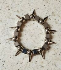 STEAMPUNK ART BRACELET-STEEL SPIKED BEADS-VERY MODERN