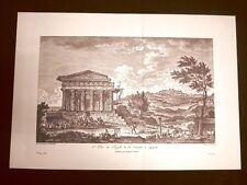 Veduta frontale Tempio della Concordia Agrigento Sicilia Litografia Saint-Non