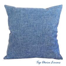 45cm x 45cm Home Decorative Solid Color Linen Look Cushion Cover-Blue