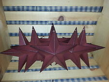 """Lot of 6 Primitive 8"""" Burgundy Barn Stars - Decorate, Crafting, Country, Metal"""