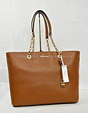 Michael Kors Mercer Chain Medium Top Zip Leather Tote/Shoulder Bag Luggage Brown