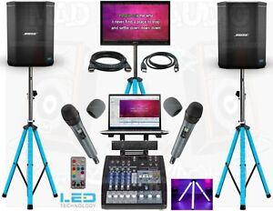 professional karaoke laptop system with laptop, music, Bose speakers, Sennheiser