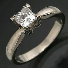 40pt Princess DIAMOND 18k Solid WHITE GOLD SOLITAIRE RING Val=$3145 Smll Sz J1/2
