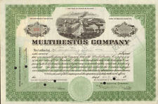 Multibestos Company > Ma stock certificate Signed Bell