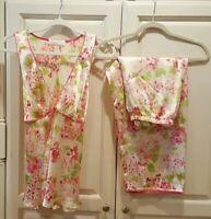 Oscar de la Renta Pink Label Womens Pajama Set White Pink Floral Size Medium