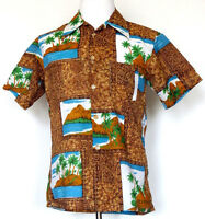 Vtg JC Penney Towncraft Brown Hawaiian Island Print Button Front Camp Shirt M