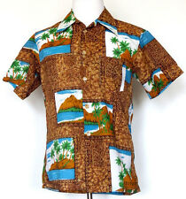 77149a1b Vtg JC Penney Towncraft Brown Hawaiian Island Print Button Front Camp Shirt  M