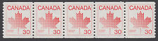 Canada - #950  30c Maple Leaf Coil Strip Of Five - MNH