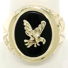 Men's 14k Yellow Gold Bezel Oval Black Onyx & Eagle Bold Textured Signet Ring