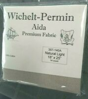 "Wichelt Imports PREMIUM Cross Stitch Fabric AIDA 14 ct 18"" X 25"" NATURAL LIGHT"