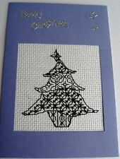 Christmas Card Completed Cross Stitch Blackwork Tree