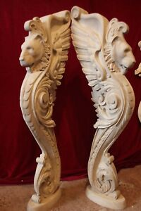 Wooden stairs Baluster Newel, oak carved  gryphon statue, decorative element.