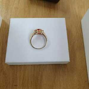Pre Loved 9ct Yellow Gold Fire Opal cluster ring