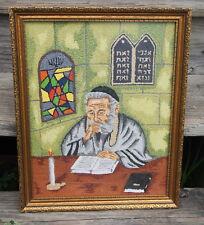Vintage Jewish Rabbi Bunka Embroidery Finished Needlework in Frame