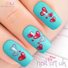 Pink Heart Water Decal Nail Art Stickers, Decals, Tattoos