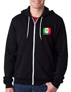 Men's Mexico Flag Chest C9 Black Zipper Hoodie Mexican Pride Symbol Aztec Mayan