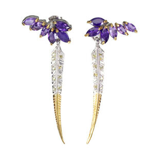 Unheated Marquise Purple Amethyst 6x3mm Sapphire 925 Sterling Silver Earrings