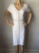 bb9a23a8d759 St John Knit Dress Size 8 Bright White Gold Jewels Wool Rayon